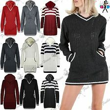 Ladies Mini Dress Womens Striped Hoody Hoodie Cable Chunky Knit Long Jumper Top