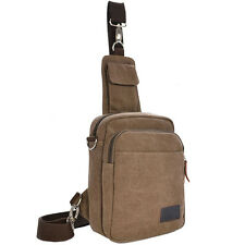 Men's Canvas Travel Hiking Messenger Cross body Shoulder Sling Chest Casual Bag