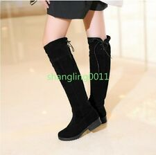 Womens New Fashion Slouch Low Heels Round Toe Faux Suede Knee High Boots Shoes