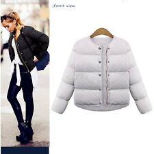 Women Casual Single-breasted Coat Parka Jacket Cotton Padded Zipper Trench Coat