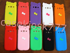 for samsung i9300 galaxy S3  sIII cute kitten 3D bow case pink black white /