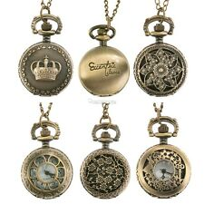 Antique Vintage Bronze Tone Pocket Chain Pendant Watch Necklace Gift Quartz New