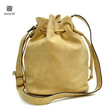 Distressed Faux Leather Handbag Cross Body Bag Drawstring Bucket Bag Barrel Bag