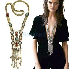 Vintage Style Women Multilayer Dangle Tassel Long Chain Necklace