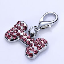 Rhinestones Pet Dog Tag Bone Shaped Collar Charm Lobster Clasp Jewelry Pendants