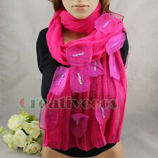 New Elegant Shawl Wrap Chiffon Crinkle Sequins Patch Special Design Long Scarf