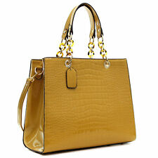 Dasein Patent Faux Leather Croco Embossed Chain Strap Satchel Shoulder Bag