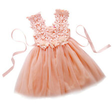 New Girls Pageant Floral Dress Blue Pink White Party Princess Children Dress