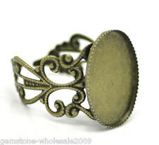 Wholesale Lots Bronze Tone Flower Adjustable Oval Cabochon Setting Rings US 8