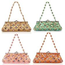 Beaded Evening Bag Clutch with Sequins Purse Satin Handbag Candy Colors
