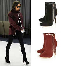 Ladies Womens High Heel Ankle Boots New Stiletto Pointed Toe Shoe Zip Up Size