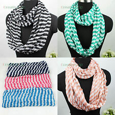 Fashion Two Tone Striped Wrinkle Infinity Loop Polyester Eternity Voile Scarf