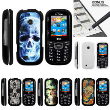 For LG Cosmos 3 VN251S Case Hard Snap On 2 Piece Slim Shell Sinister Skulls