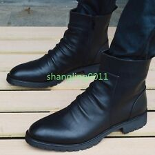 Autumn Fashion Men's PU Leather Shoes British Height Ankle Boots Combat Boots Sz