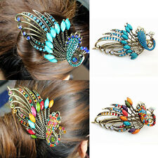 Vintage Peacock Hair Clip Crystal Hairpins Rhinestone Barrette Retro hot