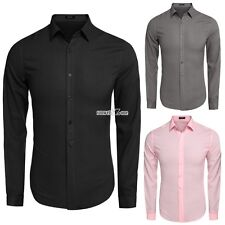 Fashion Cotton Casual Shirts Men COOFANDY Long Sleeve Dress Shirts Slim Solid