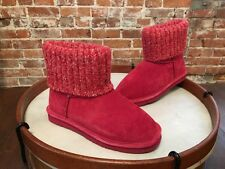 Lamo Red Suede Water Resistant Sweater Cuff Empire Boots 10 NEW