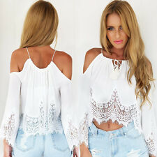 Hot Sale Summer Casual Sexy Women Boho Lace Blouse Off Shoulder Crop Tops Shirt