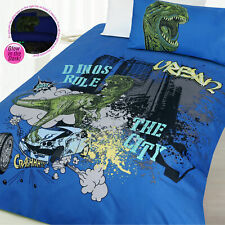 Glow In the Dark Dino City Dinosaur Quilt Doona Duvet Cover Set - SINGLE DOUBLE