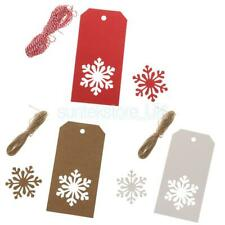 100pcs Christmas Kraft Tags Present Gift Labels Snowflake Hang Tag Xmas Tags