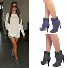 Ladies Womens Sexy High Heel Ankle Boots New Stiletto Pointed Toe Shoe Zip Up
