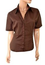 Womens Shirt Blouse Size 8 10 12 14  New Ladies Brown Cotton mix Short Sleeved