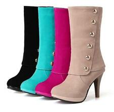 Women's winter high heels Sexy Stiletto faux suede pumps pull on Mid Calf Boots