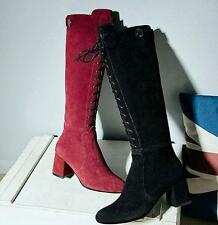 Women's winter knee high boots suede leather  zip up block heels high top shoes