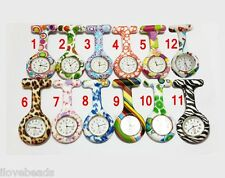 Print Silicone Nurses Watch Doctor Medical Brooch Tunic Fob Watch With Battery
