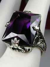 10ct *Purple Amethyst* Sterling Silver Art Deco Leaf Filigree Ring Size: Any/MTO