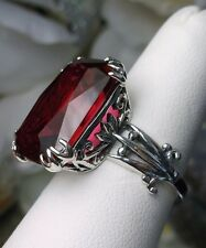 13ct *Red Ruby* Sterling Silver Floral Love Leaf Filigree Ring Size: Any/MTO