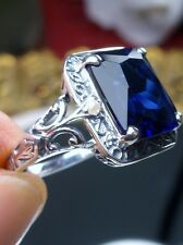 4ct *Sapphire* & Pearl Sterling Silver Deco Filigree Ring Size: (Made To Order)