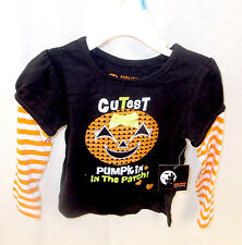 Halloween Black T-shirt Costume Cutest Pumpkin In The Patch Infant Toddler NWT