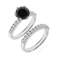 1.25 Ct Black Diamond Fancy Wedding Anniversary Solitaire Ring Bnad White Gold