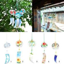 Mini Glass Wind Chime Lucky Wind Bell with Hand-Painted Japanese Style Patterns
