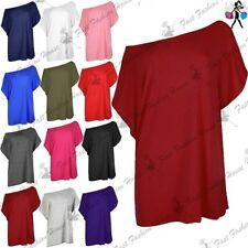 Womens Ladies Baggy Oversized Batwing Sleeve Off The Shoulder Bardot T Shirt Top