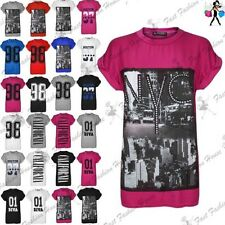 Womens NYC New York City Print Top Ladies Cap Sleeve Baggy Oversize T Shirt