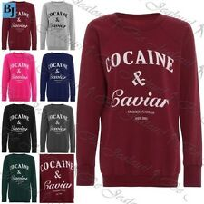 Womens Cocaine Caviar Oversized Jumper Ladies Baggy Fleece Pullover Sweatshirt