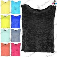 Womens T Shirt Ladies Tank Top Burnout Racer Muscle Back Deep Side Cut Out Crop