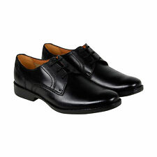 Clarks Wurster Plain Mens Black Leather Casual Dress Lace Up Oxfords Shoes