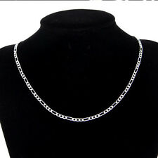 Wholesale 10pcs Silver Plated Italy Figaro Chains//Necklaces Size:16-30''