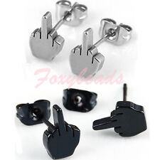 Pair Punk Cool Stainless Steel Classic Middle Finger Earring Ear Stud HOT Gift