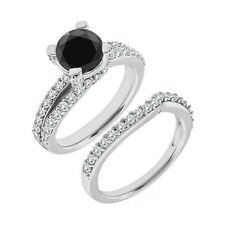 1 Carat Black Diamond Split Shank Solitaire Wedding Ring Band Set 14K White Gold