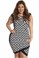 DEALZONE Sexy Alluring V-Neck Dress 1X 2X 3X Women Plus Size Black Cocktail