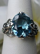 4ct *Aquamarine* Sterling Silver Gothic Swirl Filigree Ring Size: Made To Order