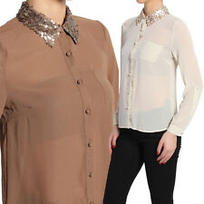 TheMogan Sequined Collar Roll Up Sleeve Chiffon Blouse Sheer Button Down Shirt S