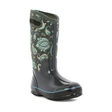 Bogs Women's Classic Paisley Floral Tall  Rain Boots Dark Gray Multi 72031
