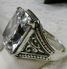 10ct White Gem Solid Sterling Silver Gothic Design Filigree Ring Size Any/MTO