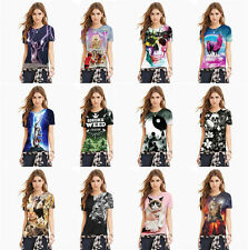 Women Casual Print T Shirt Short Sleeve Crew Neck Polyester Loose Blouse Tops WW