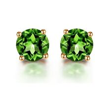 18k Rose Gold GP Austria Crystal Green Zircon Lady Birthday Stud Earrings E218e